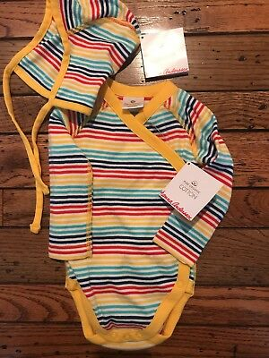 Hanna Andersson Wiggle Top yellow stripe size 70, 6-12 months matching hat