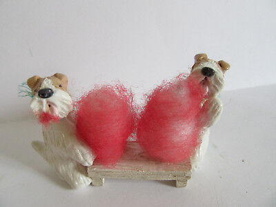 HAND SCULPTED ART~~~2 WIRE FOX Terriers EARING DELICIOUS COTTON CANDY~~ART SCENE