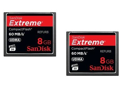 Lot of 2 Sandisk 8GB Extreme CF CompactFlash Card  UDMA 60MB/s 400x (SDCFX-008G)