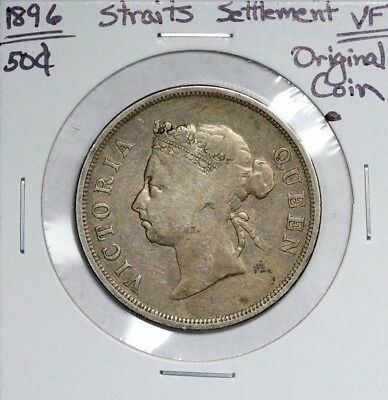 1896 Straits Settlements 50C VF Very Fine Original Coin