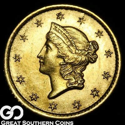 1852-O Gold Dollar, $1 Gold Liberty, Type 1, Beautiful Gem BU++ Better Date!