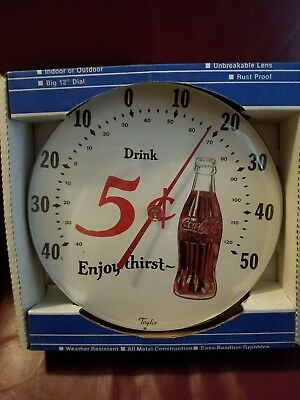 Vintage 5cent Coca-Cola bottle Advertising Thermometer~NICE