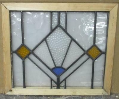 "OLD ENGLISH STAINED GLASS WINDOW Esoteric Geometric 19.5"" x 14.5"""