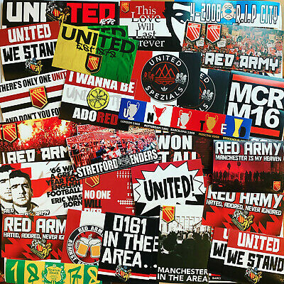 30394348140 100 x United Stickers inspired by Manchester Shirt Scarf Badge Flag MUFC  Cantona