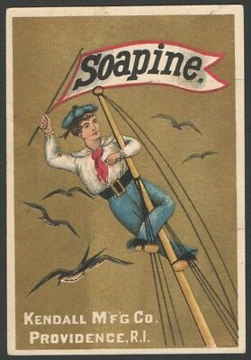 Victorian Tradecard SOAPINE Kendall Mfg Providence Sailor up Mast Waving Flag