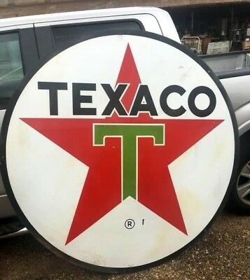 1961 Texaco Oil Sign- Porcelain- Double Sided- Huge 6' Diameter- Excellent!
