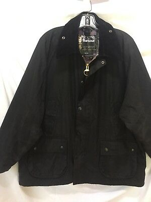 BARBOUR Bedale England Black Waxed Cotton Waterproof Jacket 48 XL Men's