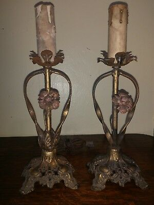 Antique Pair Of Tole Iron Lamps Sconces Roses Polychrome French