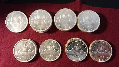 1961 - 1966 Canada Silver Dollar Mix - Roll of 20 Coins - Uncirculated