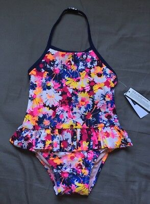 Toddler Girl 12-18 Months Baby Gap Floral One Piece Ruffle Swimsuit Swimwear