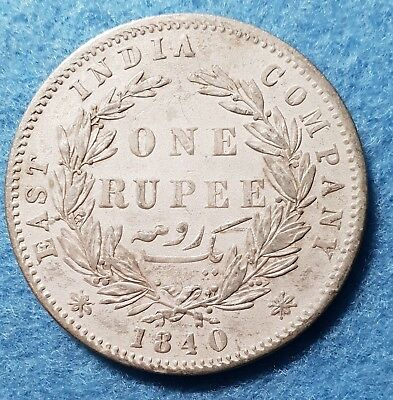 1840 East India One Rupee Silver Coin WW Raised