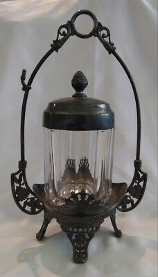 ANTIQUE VICTORIAN Ribbed Glass SILVER PICKLE CASTOR Decanter Jar WM. ROGERS