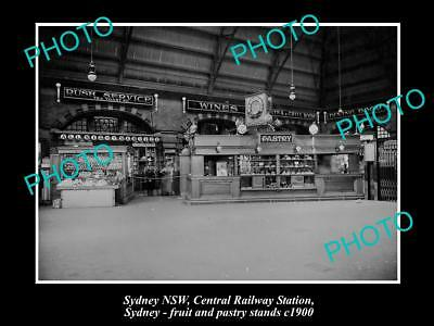 Old Large Historic Photo Of Fruit & Pastry Stands At Sydney Railway Station 1900