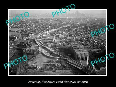 Old Large Historic Photo Of Jersey City New Jersey, Aerial View Of The City 1925