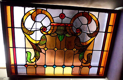 Antique Vtg Church Stained Glass Window Architectural Salvage Victorian W415