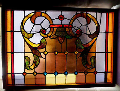 Antique Vtg Church Stained Glass Window Architectural Salvage Victorian W412