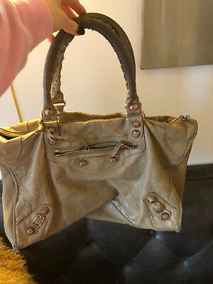 8f0c5791a11 Used Balenciaga Work purse / bag in latte with giant rose gold hardware