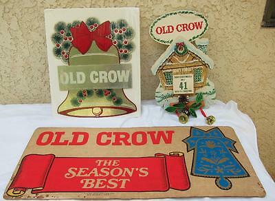 Lot of 3 Christmas Xmas Holiday OLD CROW Advertisement Merchandise Signs Posters