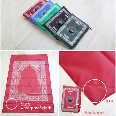 Portable Muslim Prayer Pocket Rug Mat Blanket With Compass In Pouch Musalla New