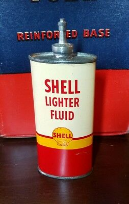 Vintage Shell Oil Lighter Fluid Lead Top Advertising Tin Can 4 oz