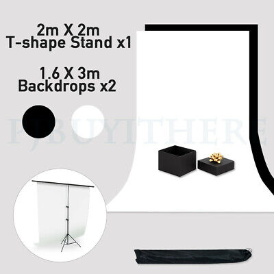Photo Studio 2X3M Backdrop Black White Background With T Type Support Stand Kit