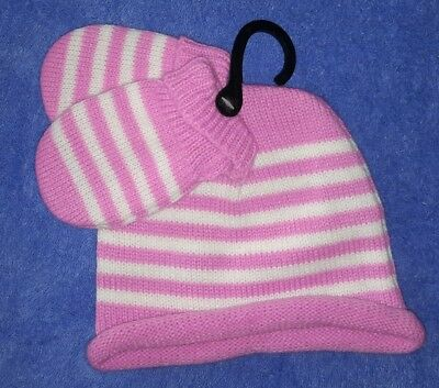 Baby Pink and White Stripe Beanie and Mittens  Size 0-2  BNWTs