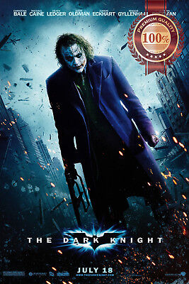 New The Dark Knight Joker With Gun Heath Film Movie Cinema Print Premium Poster