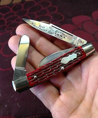 "Ltd Ed.. ""Fight'n- Rooster"" 9.11 (TWIN TOWERS) red bone stockman knife.. g.c."