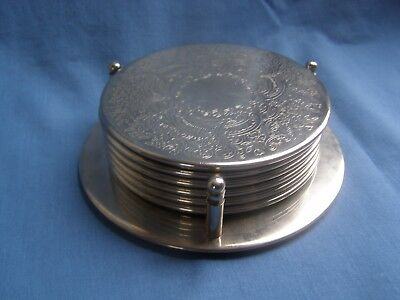 Vintage Set Of 6 Silver Plate Glass Mats Coasters In Their Original Stand