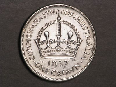 AUSTRALIA 1937 1 Crown Silver XF