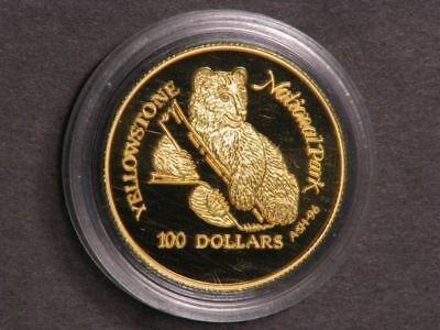 COOK ISLANDS 1996 $100 Grizzly Bear GOLD Choice Proof in Capsule