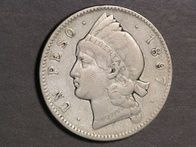 DOMINICAN REPUBLIC 1897A 1 Peso Silver Crown F-VF