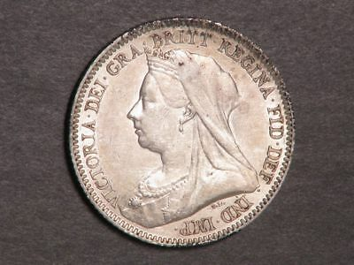 GREAT BRITAIN 1893 6 Pence Silver XF-AU