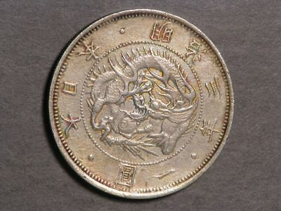 JAPAN 1870(M3) 1 Yen Silver Crown Type 1 VF-XF - Scarce Date
