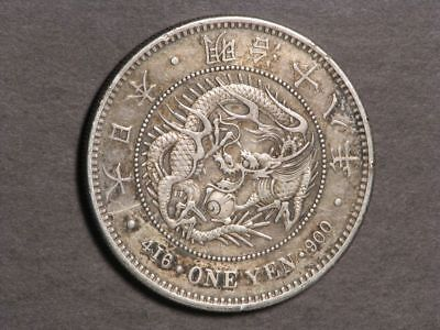 JAPAN 1885(YR18) 1 Yen Silver Crown VF-XF