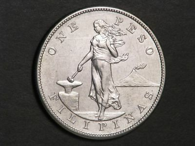 PHILIPPINES 1904S 1 Peso Silver Crown XF-AU