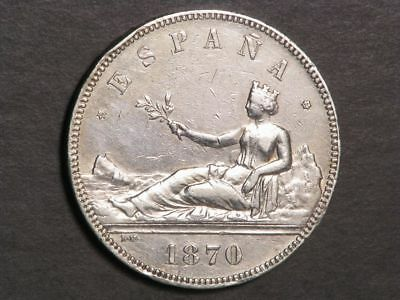 SPAIN 1870SN-M 5 Pesetas Silver Crown VF