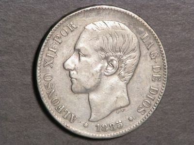SPAIN 1885MS-M 5 Pesetas Silver Crown VF