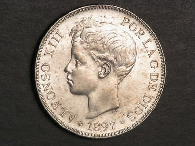 SPAIN 1897SG-V 5 Pesetas Silver Crown AU-UNC