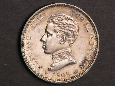 SPAIN 1905SM-V 2 Pesetas Silver Choice AU-UNC