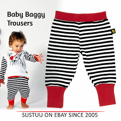 New Rockabye Baby Baggy Trousers Black and Red│Super Soft Cotton│Washable│6-12m