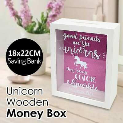 Unicorn Wooden Money Saving Box Glass Display Bank Wide Slot For Cash Coin