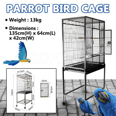 Cage Pet Bird  Parrot Aviary Stand-alone Budgie Perch Castor Wheels Large 135cm