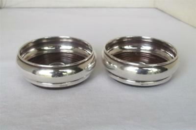 A Fine Vintage Pair Of Sterling Silver Wine Bottle Coasters Birmingham 1990.