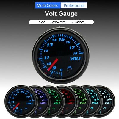 2'' 52mm Universal Car Auto 7 Color LED Volt Voltmeter Voltage Gauge Meter 12V