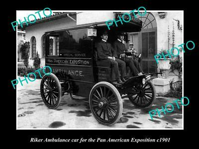 OLD LARGE HISTORIC PHOTO OF RIKER AMBULANCE CAR, PAN AMERICAN EXPOSITION c1901