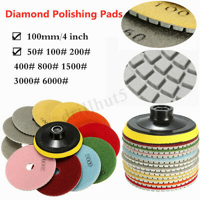 "12PC Diamond Polishing Pads 4"" Grinding Disc Granite Marble Concrete Stone 100mm"