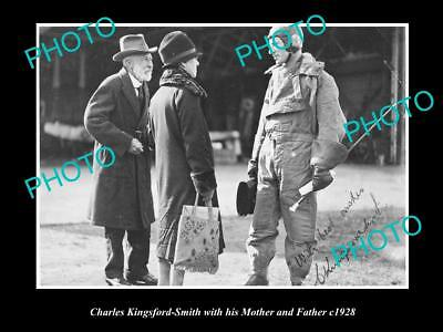 OLD LARGE HISTORICAL PHOTO OF CHARLES KINGSFORD SMITH & HIS PARENTS c1928