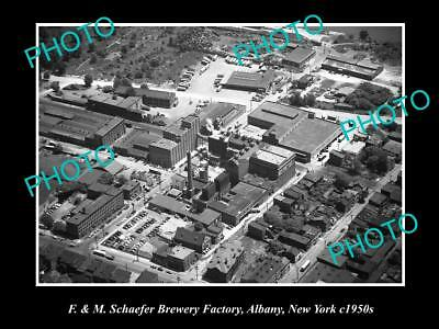 OLD LARGE HISTORIC PHOTO OF F&M SCHAEFER BREWERY FACTORY, ALBANY NEW YORK c1950