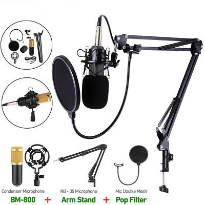 BM800 Condenser Microphone Studio Mic Recording Broadcasting Home w/ Shock Mount